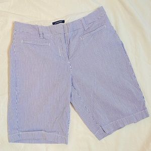 Land's End Blue and White Striped Bermuda Shorts